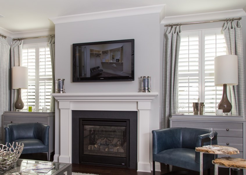 living room San Antonio faux wood shutters